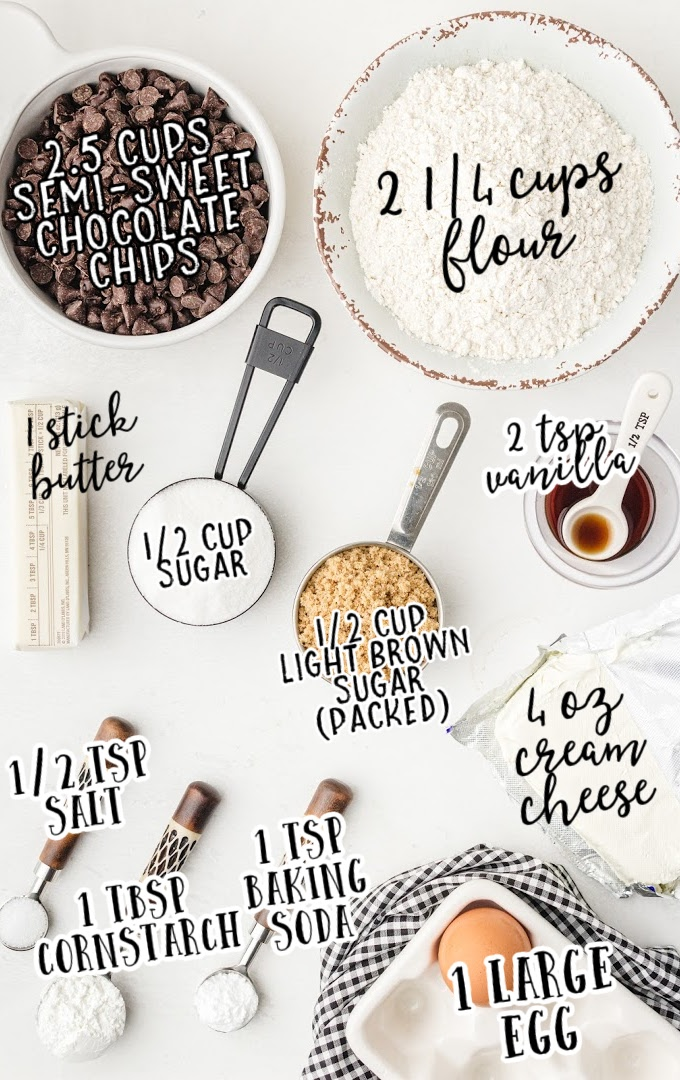 cream cheese chocolate chip cookies raw ingredients that are labeled