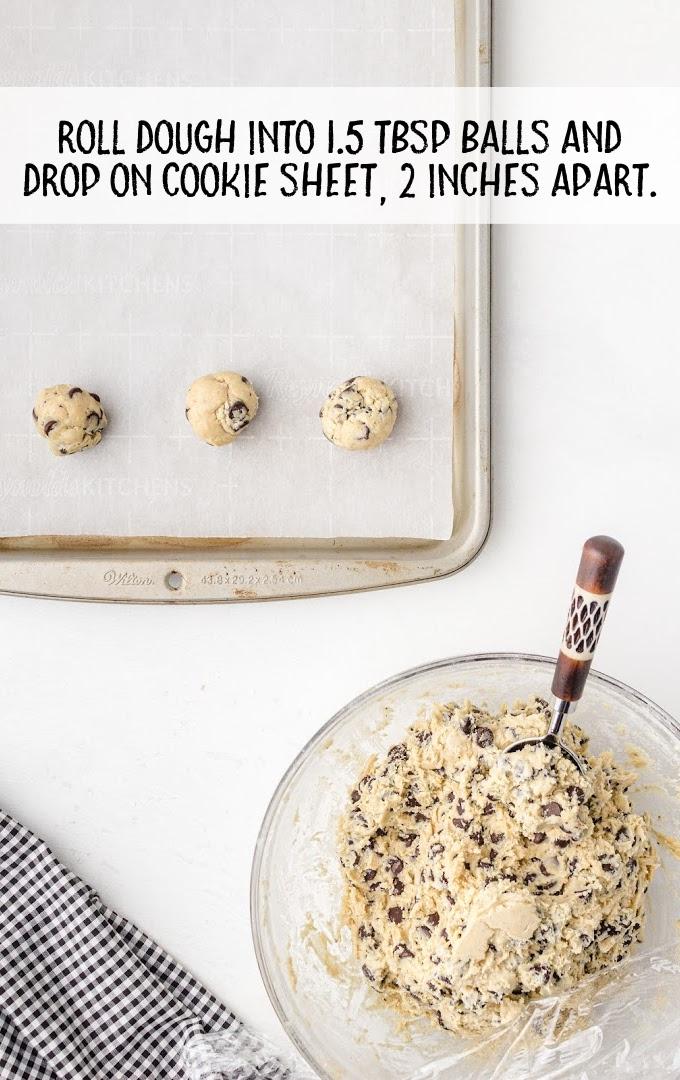 cream cheese chocolate chip cookies process shot