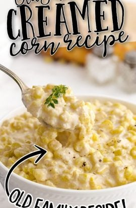 close up shot of creamed corn in a white bowl