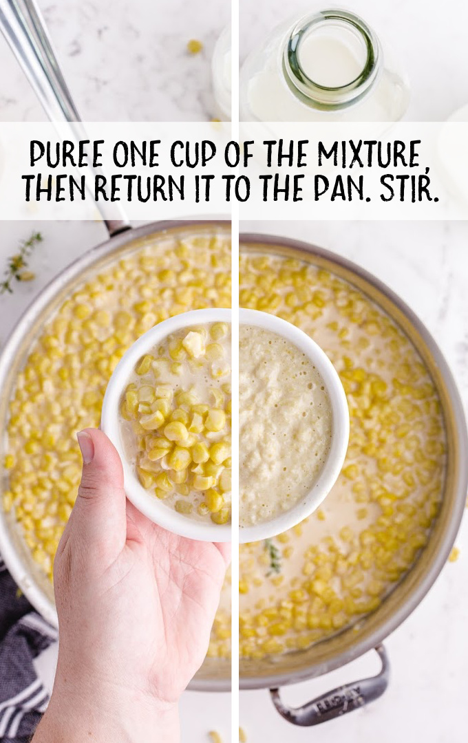 creamed corn process shot