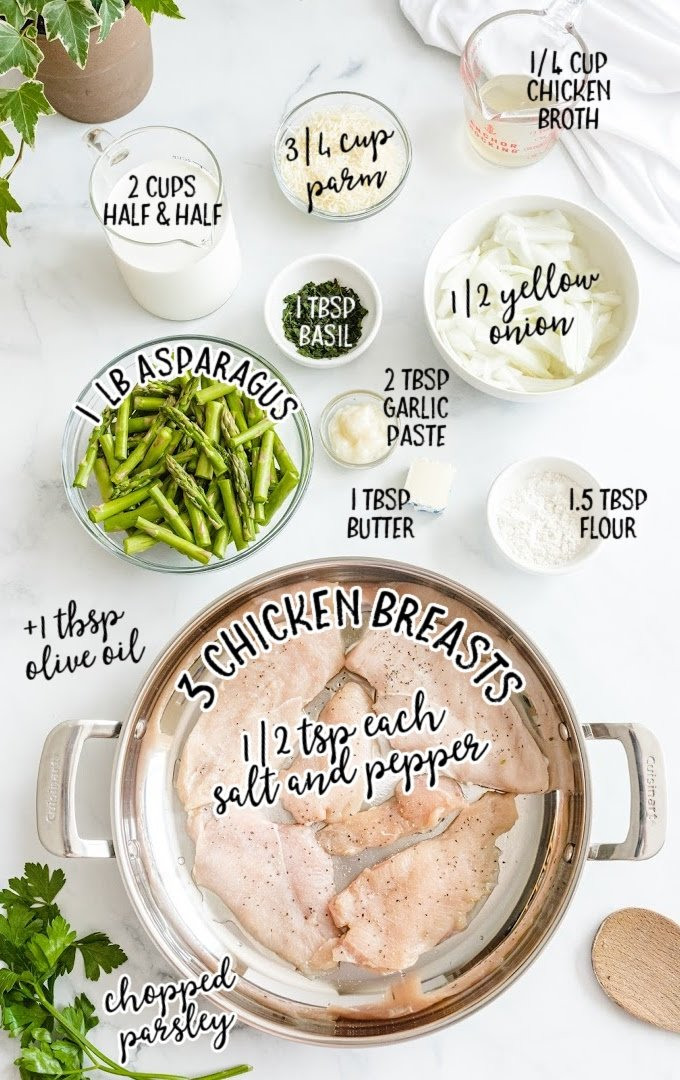 creamy chicken and asparagus raw ingredients that are labeled