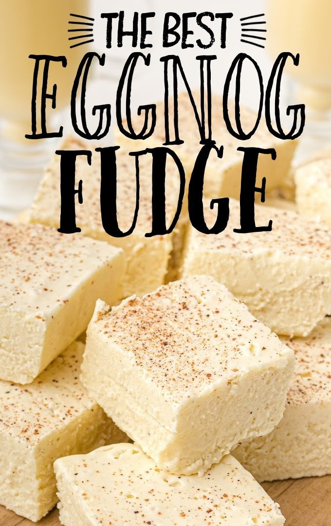 close up shot of eggnog fudge piled on top of each other