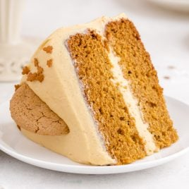 A piece of cake on a plate, with Bread