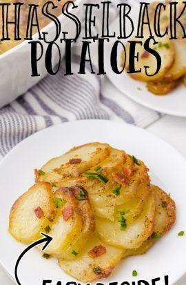 hasselback potato casserole on a white plate