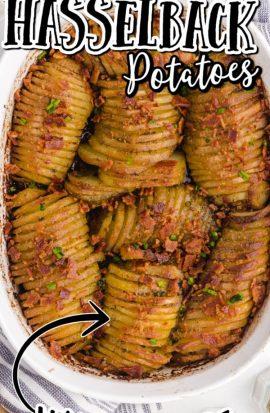 overhead shot of hasselback potato casserole in a pan