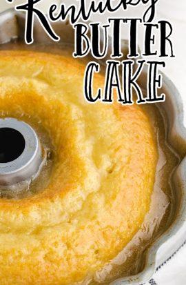 close up shot of kentucky butter cake in a cake pan