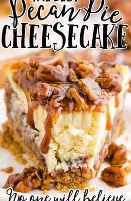close up shot of pecan pie cheesecake slice on a white plate