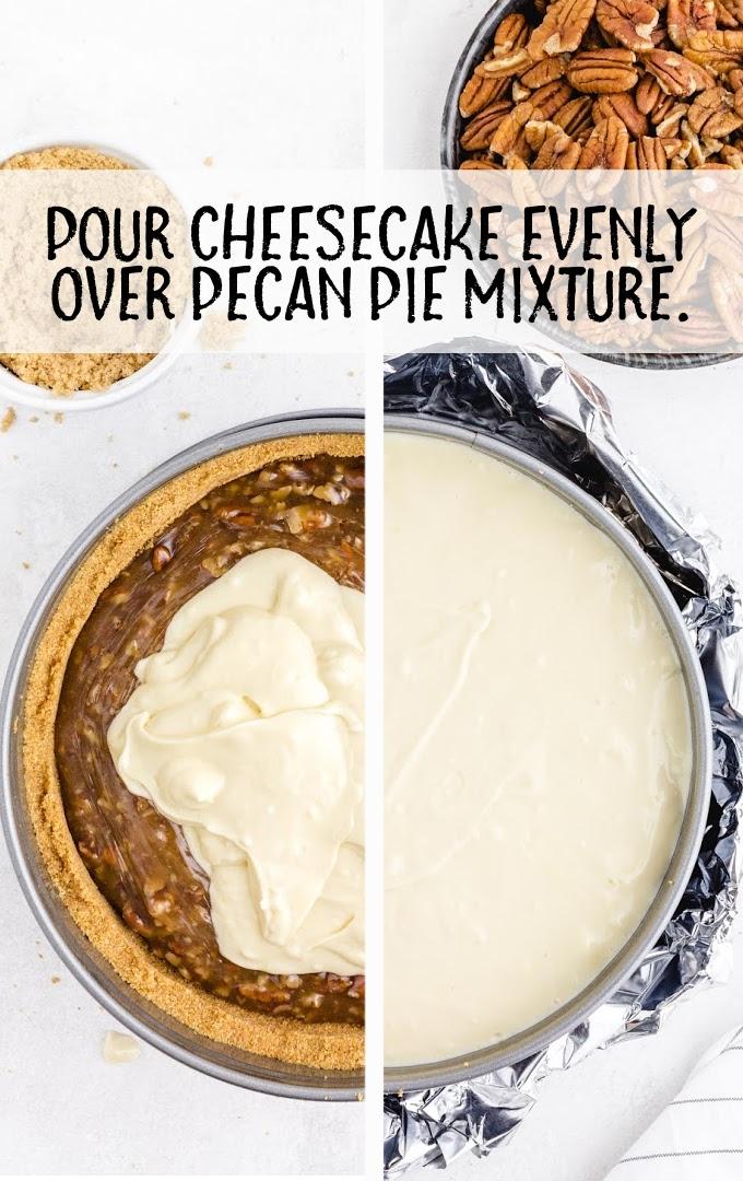 pecan pie cheesecake process shot