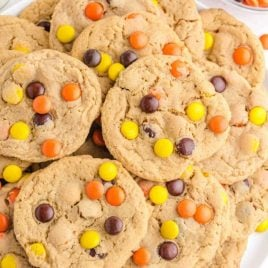close up overhead shot of Reese's cookies piled on top of each other
