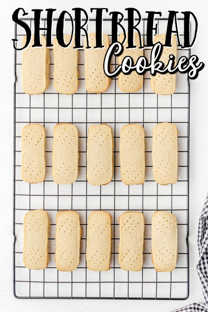shortbread cookies line up on a rack