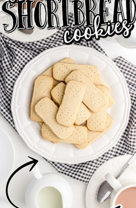 overhead shot of -shortbread cookies on a plate