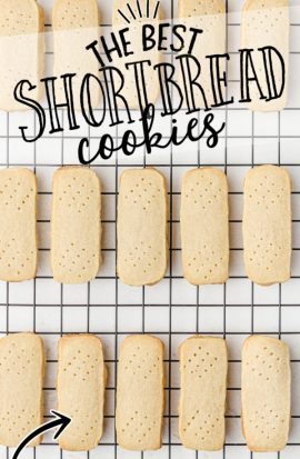 shortbread cookies lined up on a rack