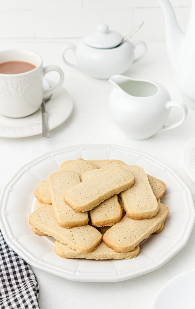 shortbread cookies on a white plate