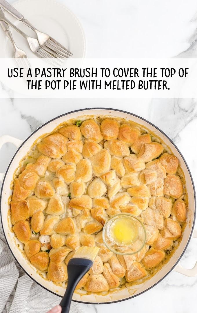skillet chicken pot pie process shot