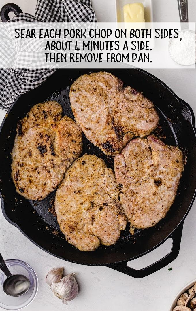 smothered pork chops process shot