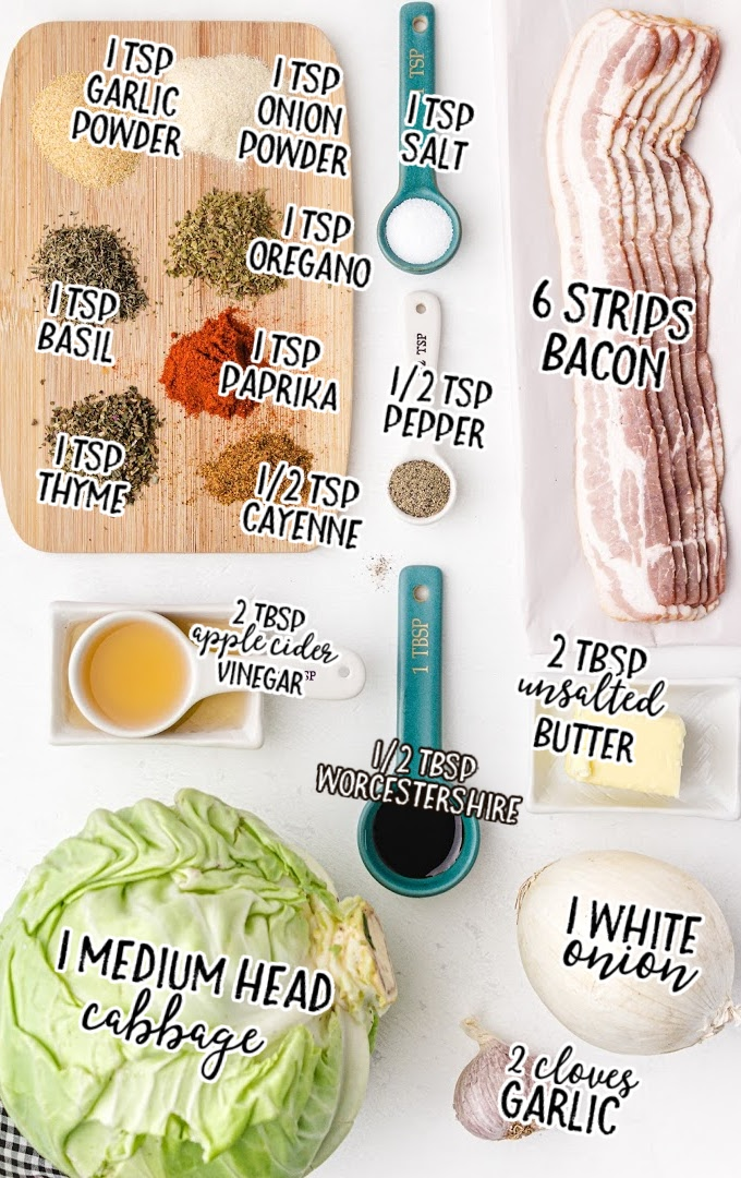 southern fried cabbage raw ingredients that are labeled