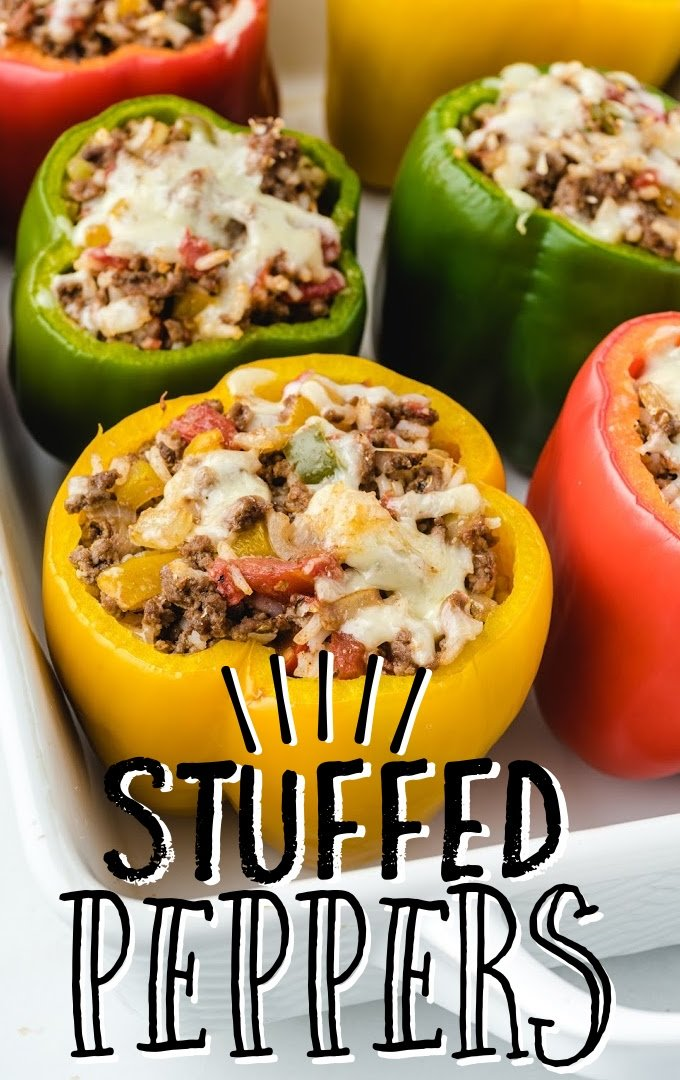 close up shot of stuffed peppers