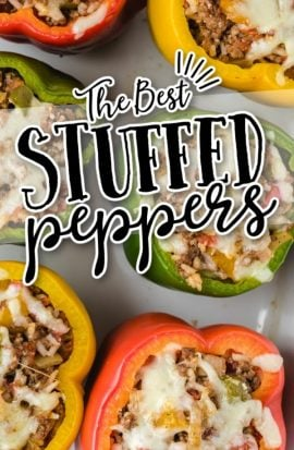 close up overhead shot of stuffed peppers
