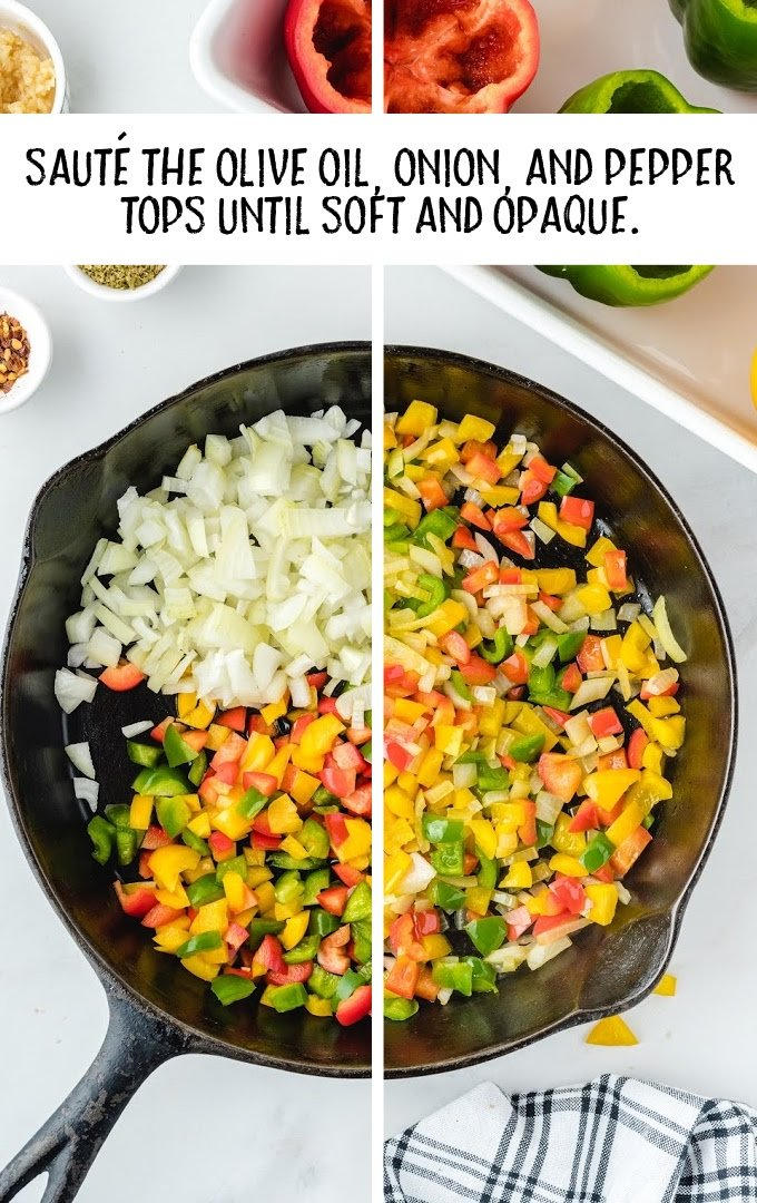 stuffed peppers process shot