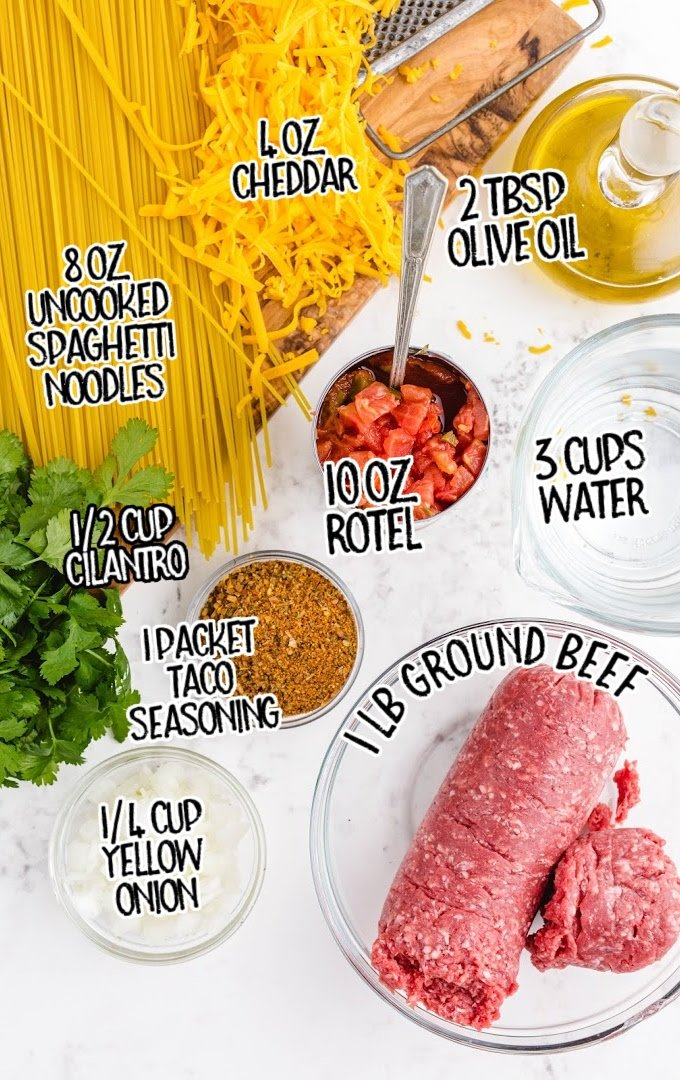 taco spaghetti raw ingredients that are labeled