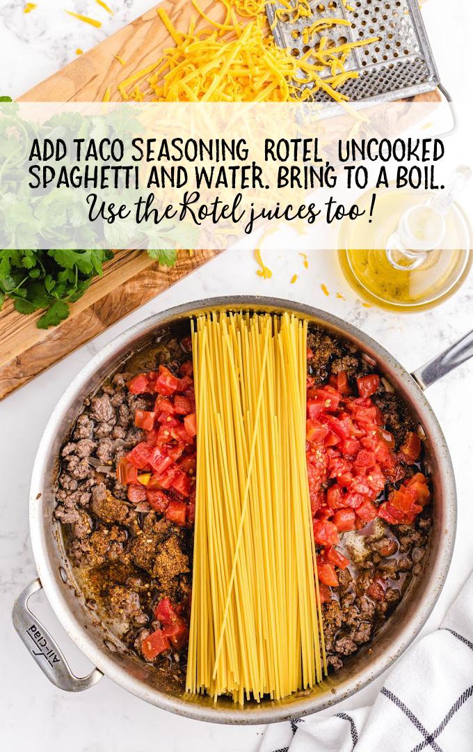 taco spaghetti process shot