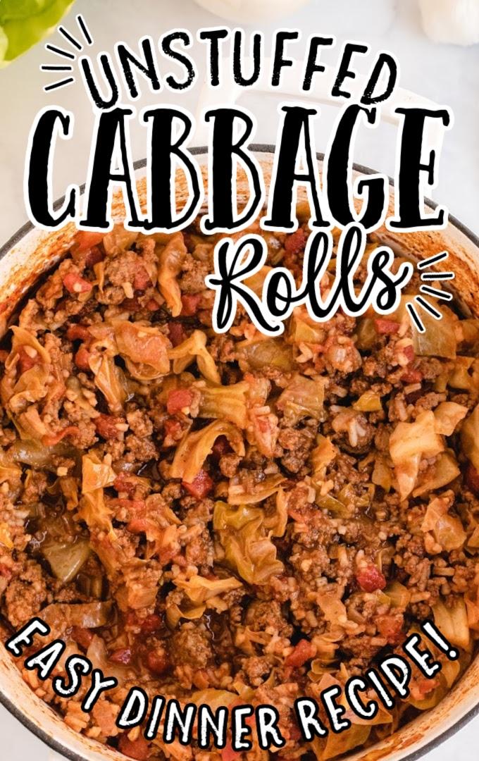 close up overhead shot of unstuffed cabbage rolls