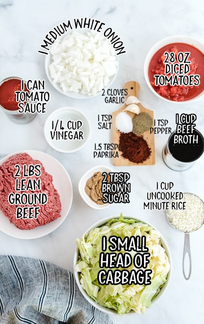 unstuffed cabbage rolls raw ingredients that are labeled