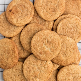 close up overhead shot of snickerdoodle on a oven rack
