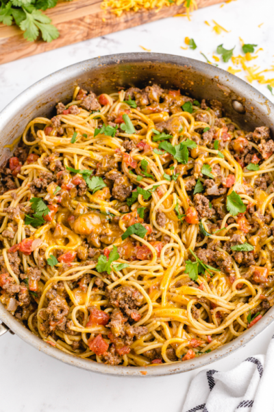 close up overhead shot of taco spaghetti in a pan