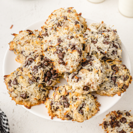 overhead shot of almond joy cookies on a white plate