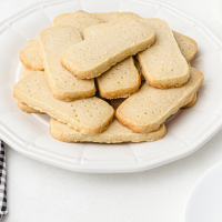 close up shot of shortbread cookies on a white plate