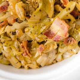 close up overhead shot of southern fried cabbage