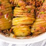 close up shot of hasselback potato casserole