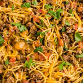 close up overhead shot of taco spaghetti