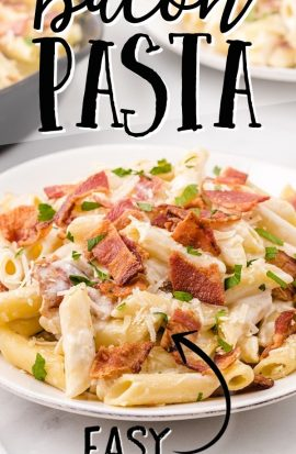 close up shot of bacon pasta on a plate