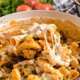 close up shot of One Pot Chicken Parmesan Pasta in a dish