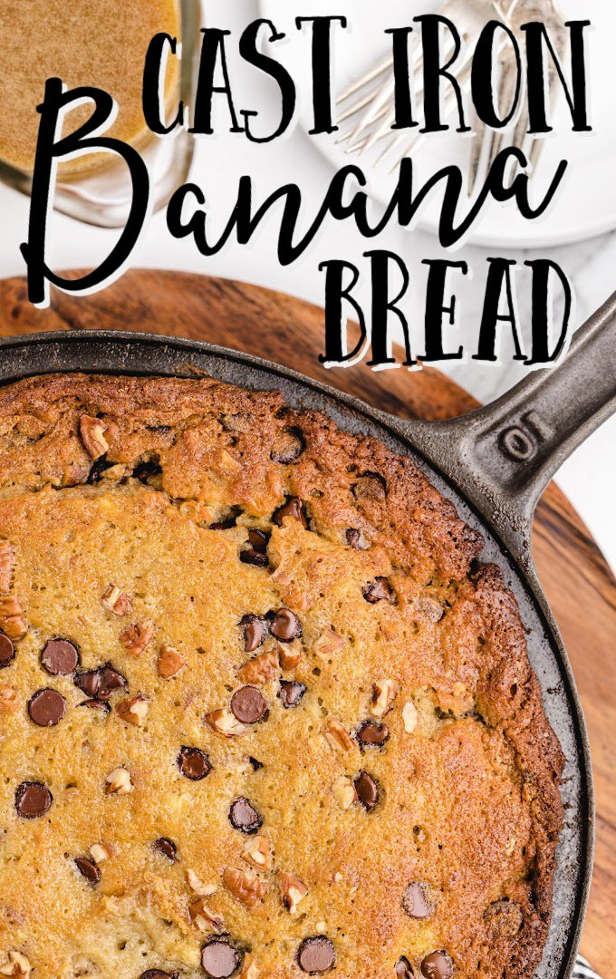 close up shot of cast iron banana bread in a pan