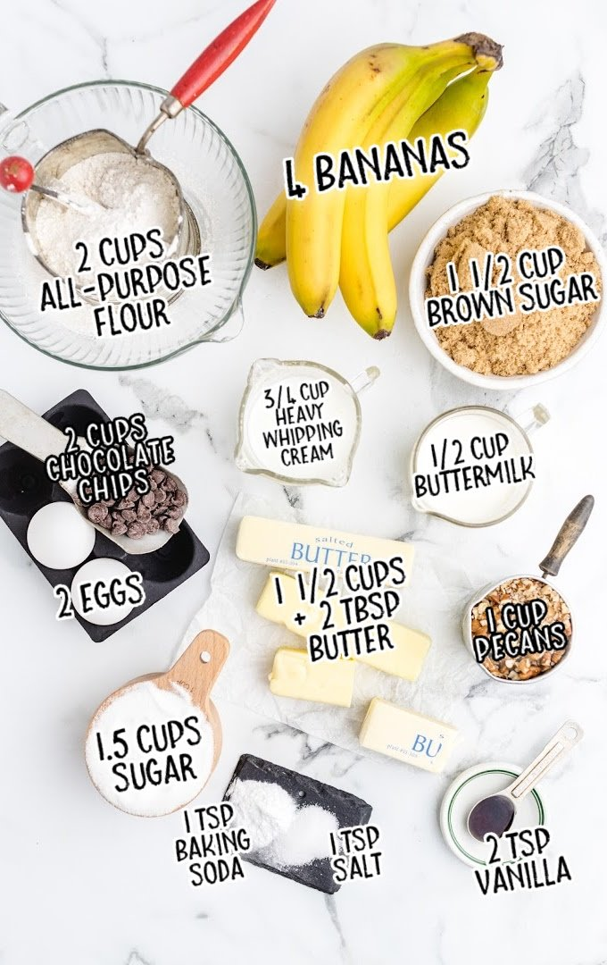 cast iron banana bread raw ingredients that are labeled
