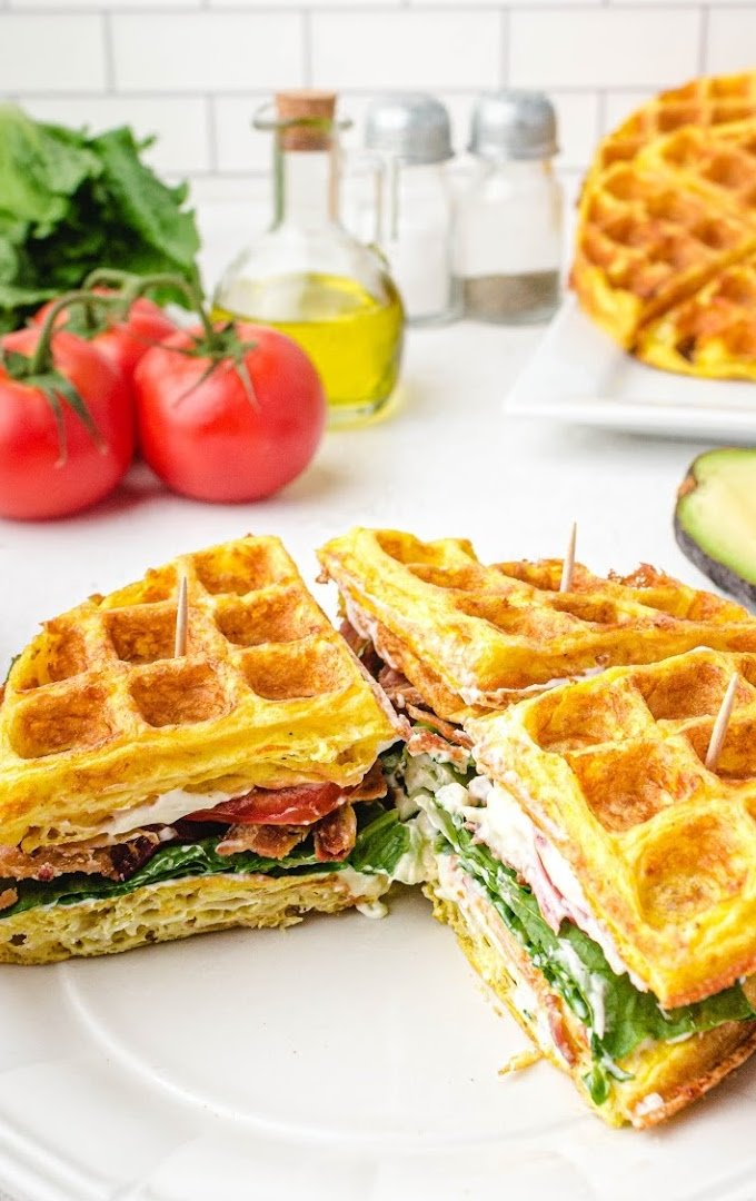 close up shot of chaffle on a white plate