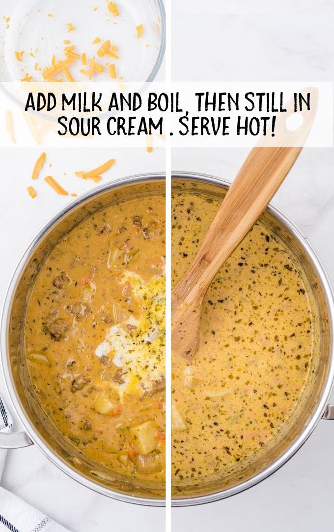 cheeseburger soup process shot