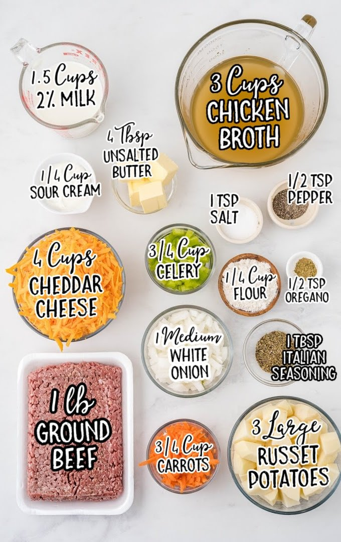 cheeseburger soup raw ingredients that are labeled