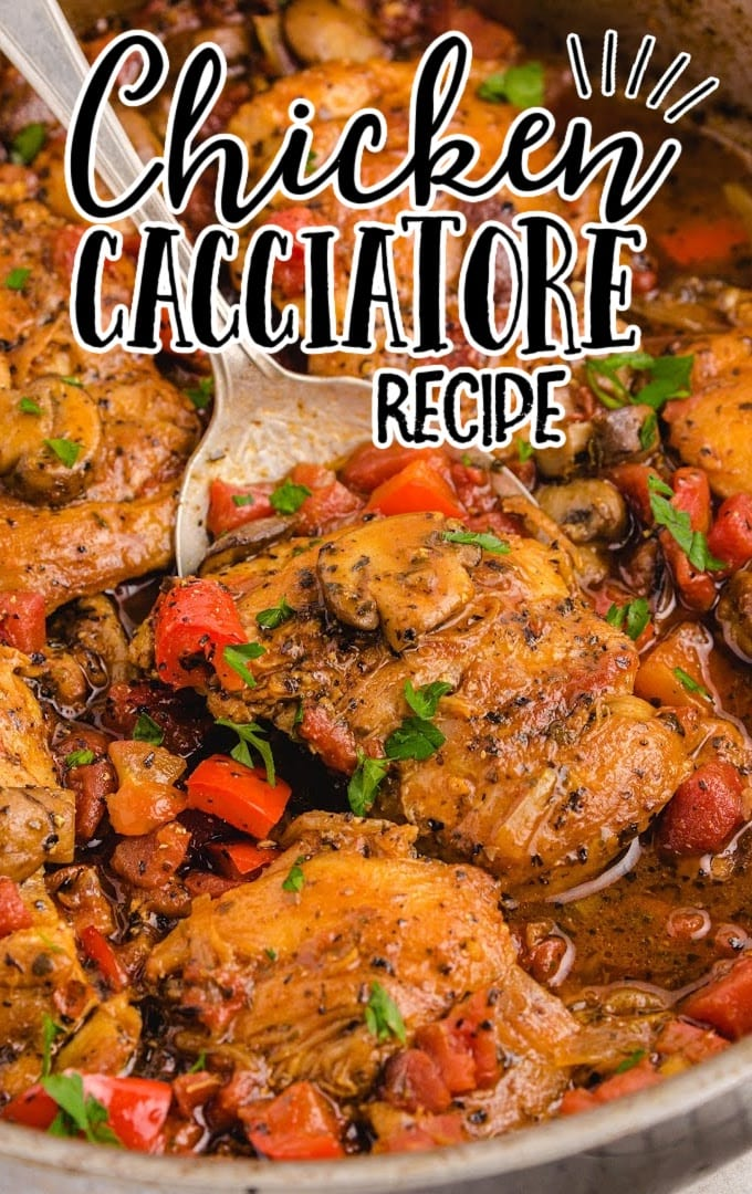 close up overhead shot of chicken cacciatore being picked up with a spoon