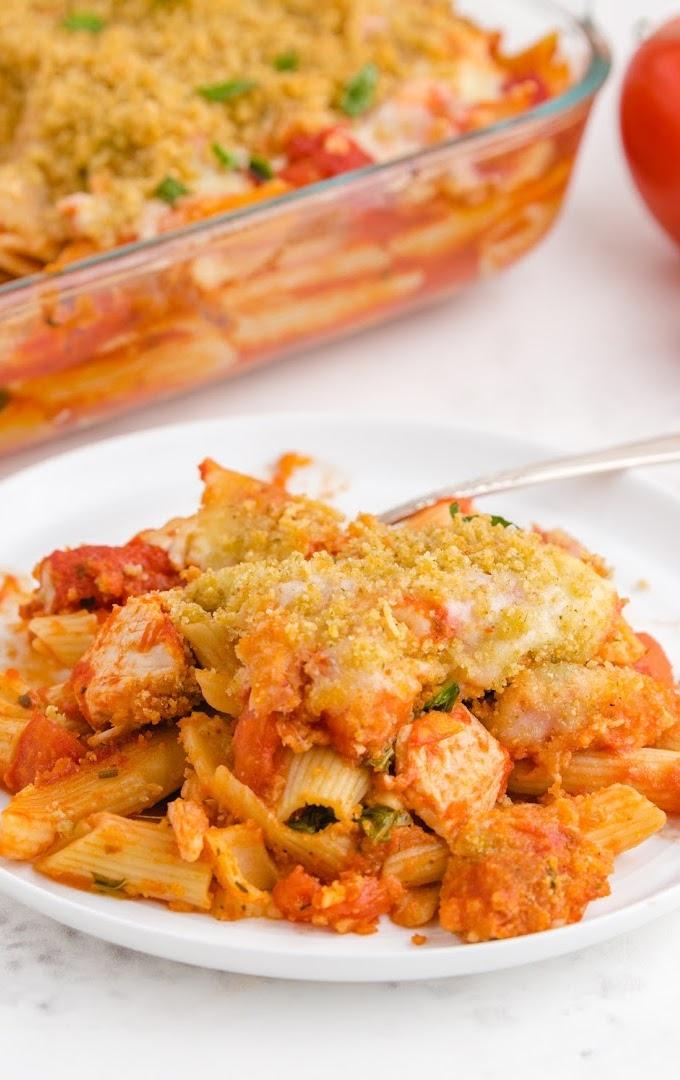 chicken parmesan casserole on a white plate