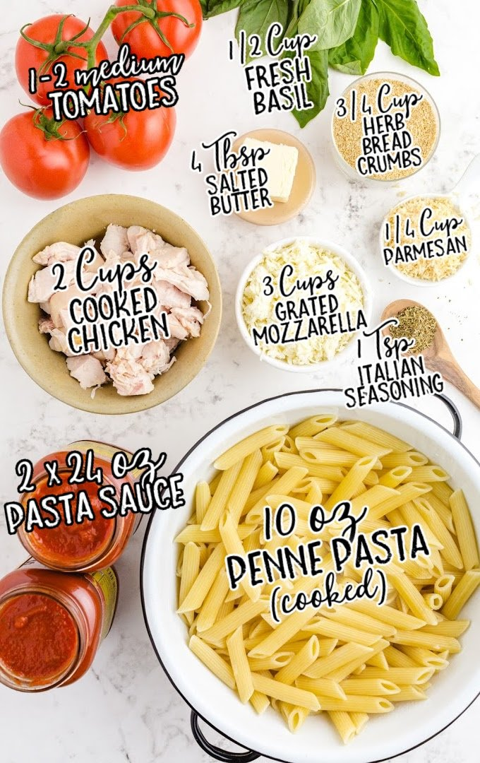 chicken parmesan casserole raw ingredients that are labeled