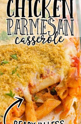 chicken parmesan casserole in a clear baking dish