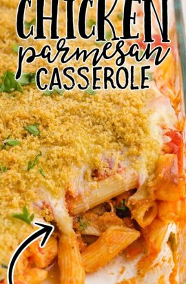 chicken parmesan casserole in a clear baking
