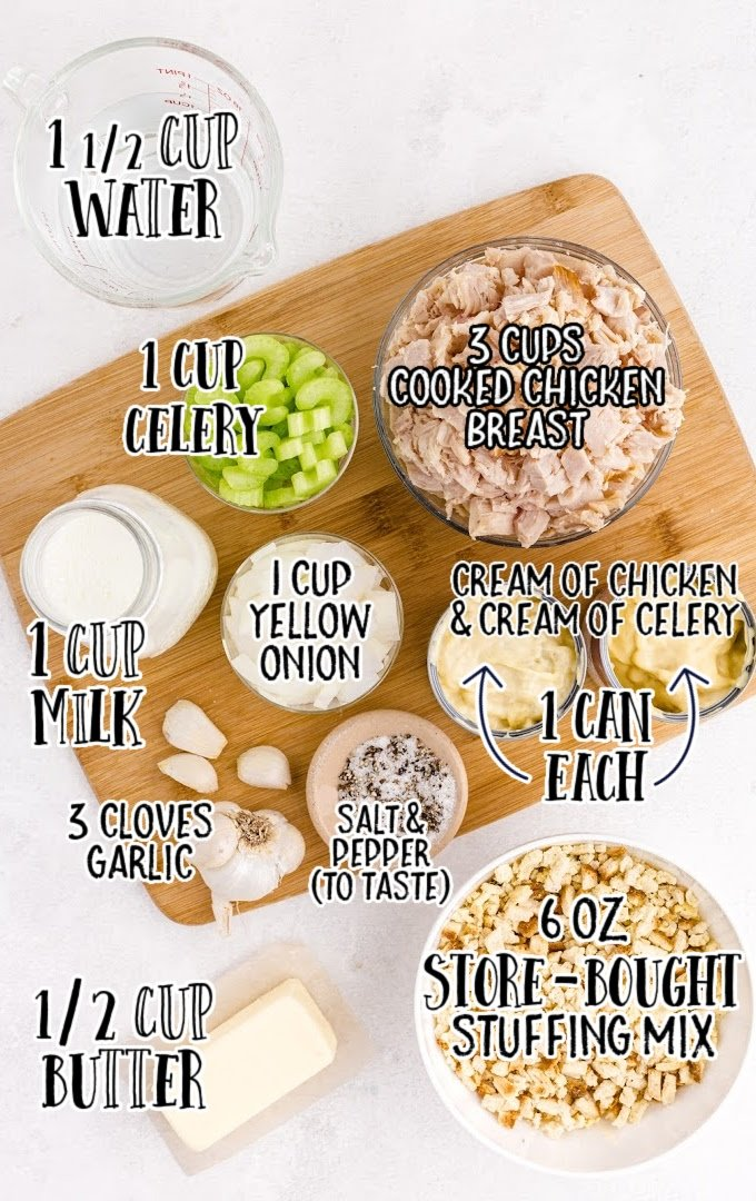 chicken and stuffing casserole raw ingredients that are labeled