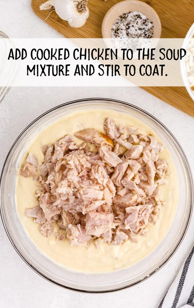 chicken and stuffing casserole process shot
