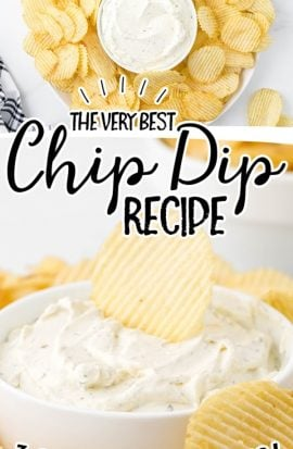 close up shot of chip dip in a dish surrounded by chips and being dipped