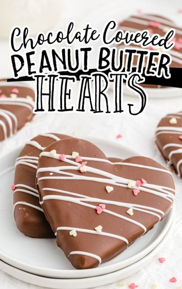 close up shot of Chocolate Covered Peanut Butter Hearts on a white plate